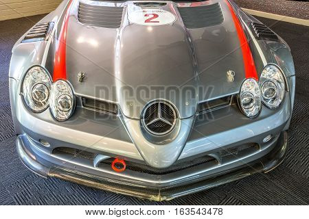 Phillip Island Grand Prix Circuit, Australia - January 4, 2015: Closeup of Mercedes Benz SLR McLaren 722 GT. It may romps from 0-100 Km-h in 3.5 sec.