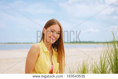 Woman Resting On Beach.