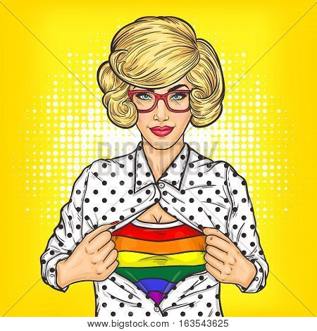Vector pop art illustration of lesbian shows a T-shirt with the colors of the rainbow under her shirt