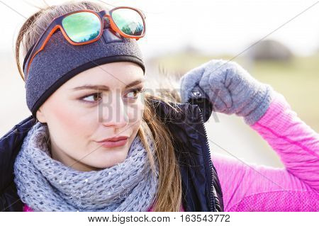 Fitness Girl Wearing Warm Sporty Clothes In Cold Day