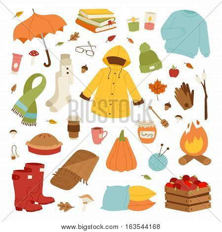 Autumn icons hand drawn objects. Fall season decoration vector. Collection of forest elements autumn party farmers harvest festival. Autumn icons nature leaf autumnal floral weather.