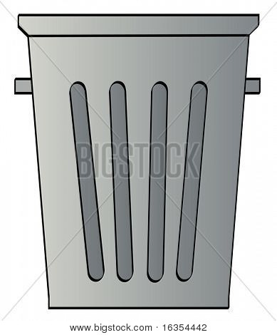 grey garbage can on white background - vector