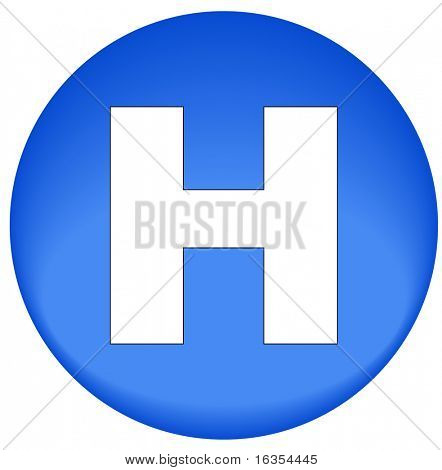 blue button or icon with hospital  symbol - vector