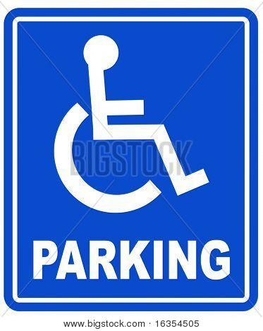 blue handicap parking or wheelchair parking space sign
