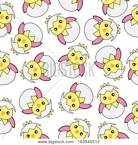Seamless background of Easter illustration with cute pink baby chick on white background suitable for wallpaper, postcard, and scrap paper