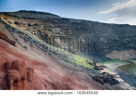 Green lagoon near El Golfo in Lanzarote Canary Islands Spain