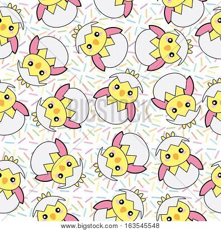Seamless background of Easter illustration with cute pink baby chick on sprinkles background suitable for wallpaper, postcard, and scrap paper