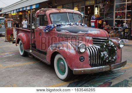 Old Vintage Red Chevrolet Truck At Night Market, Srinakarin Road