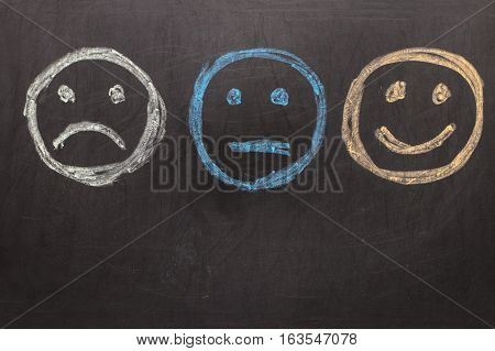 Drawing Unhappy And Happy Smileys On Blackboard