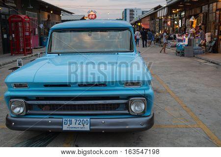 Old Vintage Blue Chevrolet Car At Night Market, Srinakarin Road