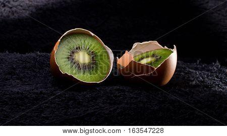 Egg Kiwi calorie, chicken, concept cracked delicious dessert