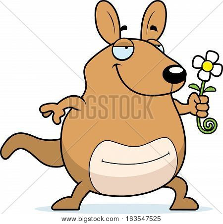 A cartoon illustration of a wallaby with a flower.
