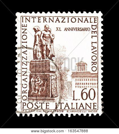 ITALY - CIRCA 1959 : Cancelled postage stamp printed by Italy, that shows Monument in Geneva.