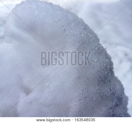 Zoom and closeup on white snow with small details
