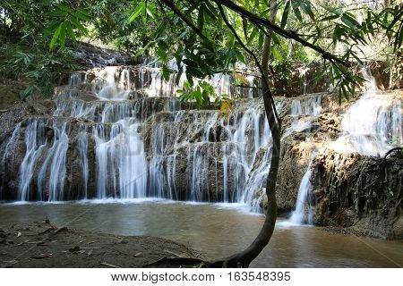 Noppiboon Waterfall in Sangkhla Buri District, Kanchanaburi Province, Thailand.