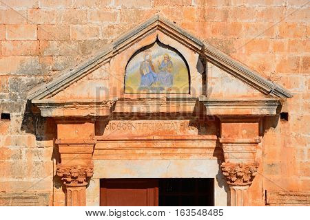 Religious painting above the entrance to the Agia Triada monastery Agia Triada Crete Greece Europe.