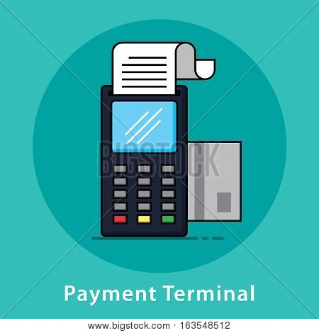 Payment terminal Pos terminal Pos payment Vector illustration Modern flat and line design.
