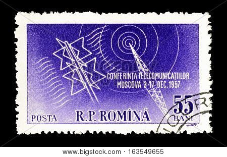 ROMANIA CIRCA 1957 : Cancelled postage stamp printed by Romania, that shows Antenna.