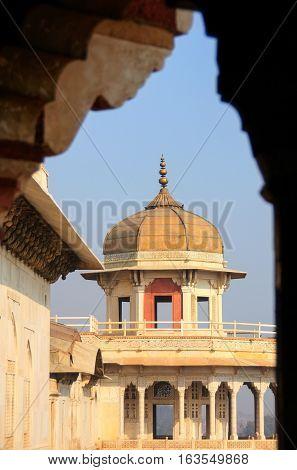Framed View Of Musamman Burj In Agra Fort, Uttar Pradesh, India