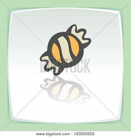 Vector outline sweet candy in wrapper food icon on white flat square plate. Elements for mobile concepts and web apps. Modern infographic logo and pictogram.