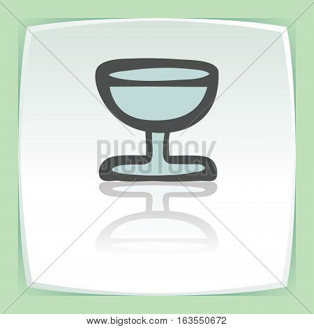 Vector outline wine glass goblet icon on white flat square plate. Elements for mobile concepts and web apps. Modern infographic logo and pictogram.