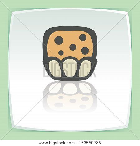 Vector outline sweet muffin food icon on white flat square plate. Elements for mobile concepts and web apps. Modern infographic logo and pictogram.
