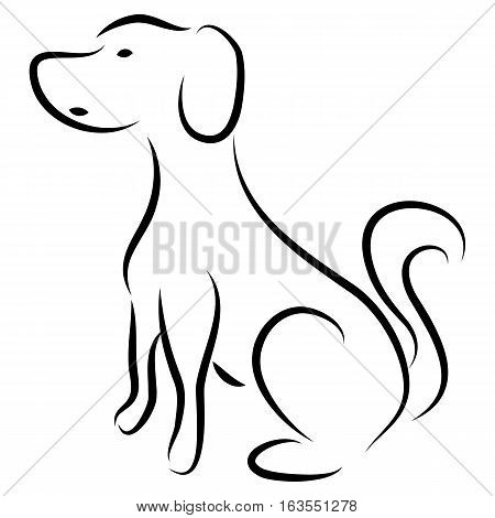 hand drawn a whole body of dog in black outline isolated on white background. vector illustration.