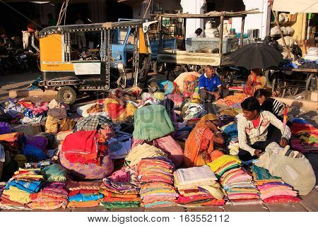 Jodhpur, India - February 11: Unidentified People Sell Cloth At Sadar Market On February 11, 2011 In