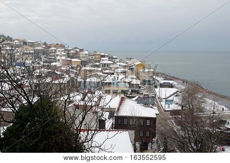 Tirilye, Turkey - December 31, 2016: Tirilye is a town in Bursa Province, Mudanya, Turkey, situated 12 km (7.46 mi) west of Mudanya. It is a township along the Marmara Sea shoreline.