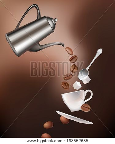 Vector illustration of a coffee pot, coffee beans, cup, saucer, spoon and sugar lumps