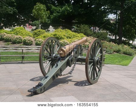 Rear view of a cannon on the courtyard of the Ohio Statehouse in downtown Columbus