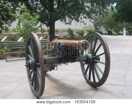 Refurbished Cannon on the courtyard of the Ohio Statehouse in downtown Columbus