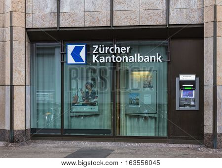 Winterthur, Switzerland - 26 December, 2016: an ATM of the Zurich Cantonal Bank. Zurich Cantonal Bank is the largest cantonal bank and fourth largest bank in Switzerland.