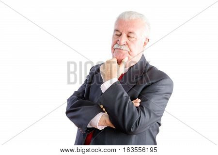 Serious Mature Businessman Thinking On White