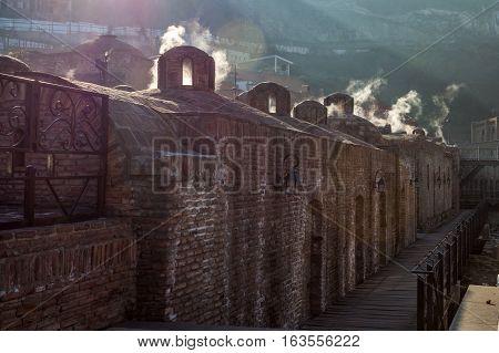 Ancient Sulfuric Baths In Abanotubani, Famous Sightseeing Of Tbilisi, Georgia