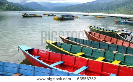 Boats in Phewa Lake, Pokahara Nepal while traveling