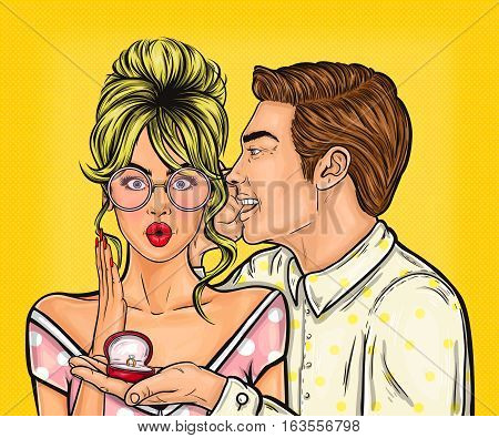 Vector illustration pop art man makes a marriage proposal to his girlfriend