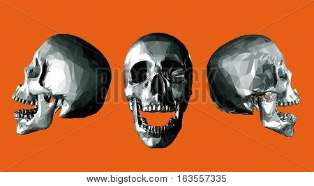 Monochrome low poly skull open jaw with three point of view on orange background