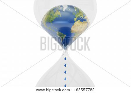 Earth in hourglass closeup ecological concept. 3D rendering isolated on white background