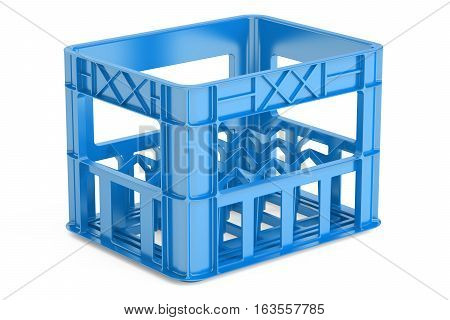 empty blue plastic storage box crate for bottles. 3D rendering isolated on white background