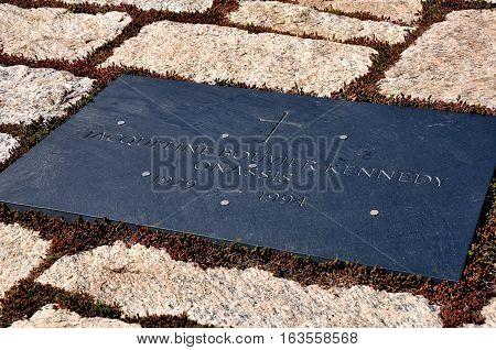 Arlington Virginia - April 12 2014: Gravesite of Jacqueline Bouvier Kennedy Onassis at Arlington National Cemetery