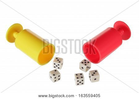 Dice with Dice Cups on White Background