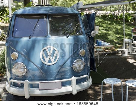 BRISBANE, AUSTRALIA - December 28, 2016: Well preserved and maintained 1966 VW Kombi retro vintage car in Brisbane Australia