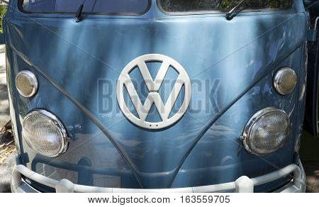 BRISBANE, AUSTRALIA - December 28, 2016: Detail of the front panel of a 1966 VW Kombi retro vintage car in Brisbane Australia