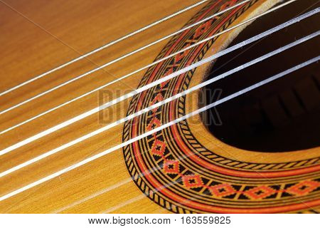 Close Up of Strings of a Classical Guitar