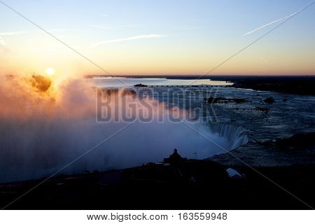 Winter sunrise at Niagara Falls, Ontario, Canada.