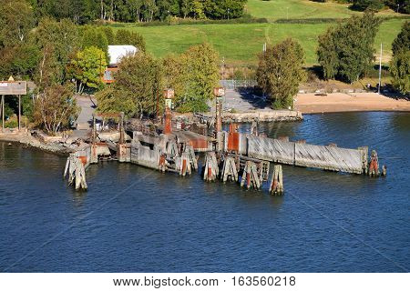 Gothenburg shore with wooden dock or pier on the North Sea in Sweden Scandinavia