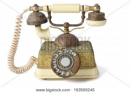Antique Landline Telephone on Isolated White Background