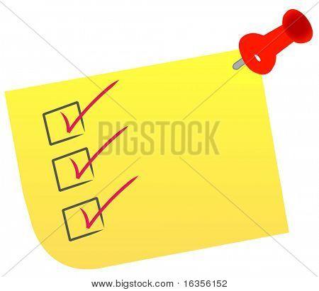 lista de verificação em nota com aderência do polegar vermelho