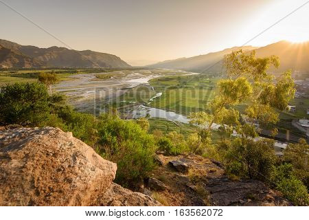 Beautiful view of river swat flowing through the valley from top of a hill.